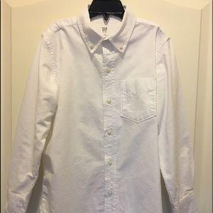 GAP white boys long sleeve button down shirt